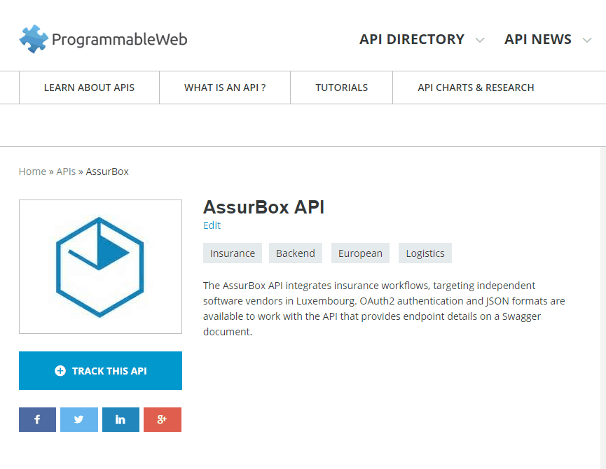 We are listed on ProgrammableWeb